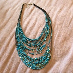 💙 Blue Layered Beaded Necklace + Earring Set 💙